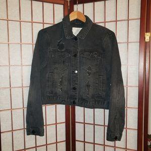 Cotton On crop distressed denim jacket